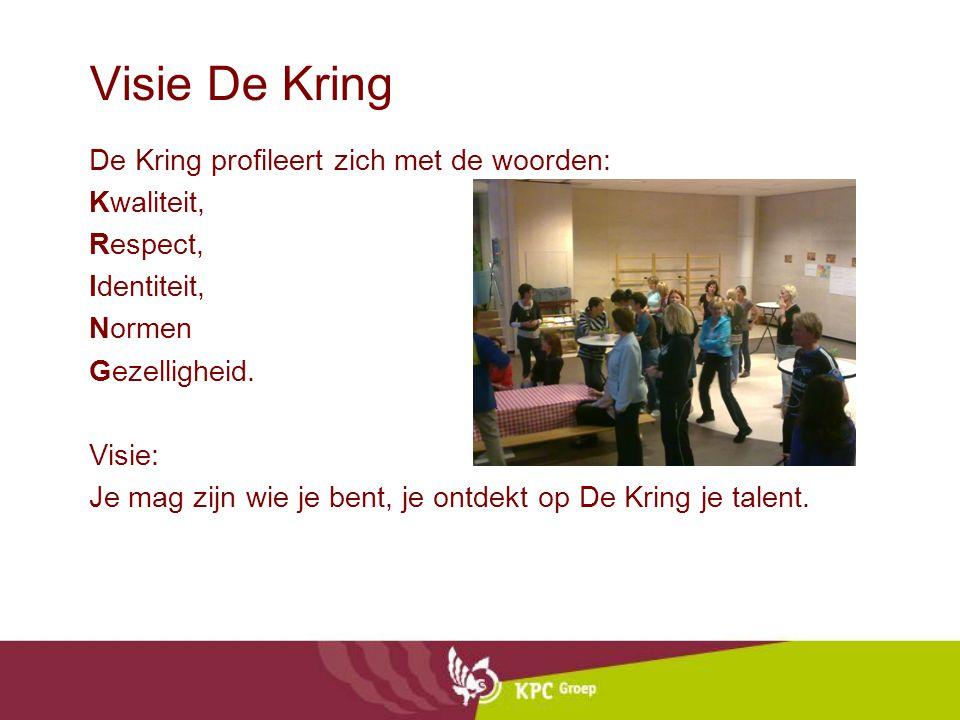 Visie De Kring De Kring profileert zich met de woorden: Kwaliteit, Respect, Identiteit, Normen Gezelligheid. Visie: Je mag zijn wie je bent, je ontdek