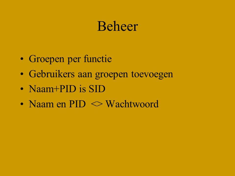Beheer Groepen per functie Gebruikers aan groepen toevoegen Naam+PID is SID Naam en PID <> Wachtwoord