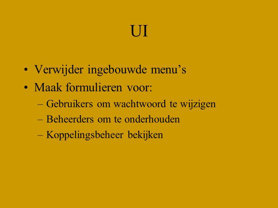 UI Verwijder ingebouwde menu's Maak formulieren voor: –Gebruikers om wachtwoord te wijzigen –Beheerders om te onderhouden –Koppelingsbeheer bekijken