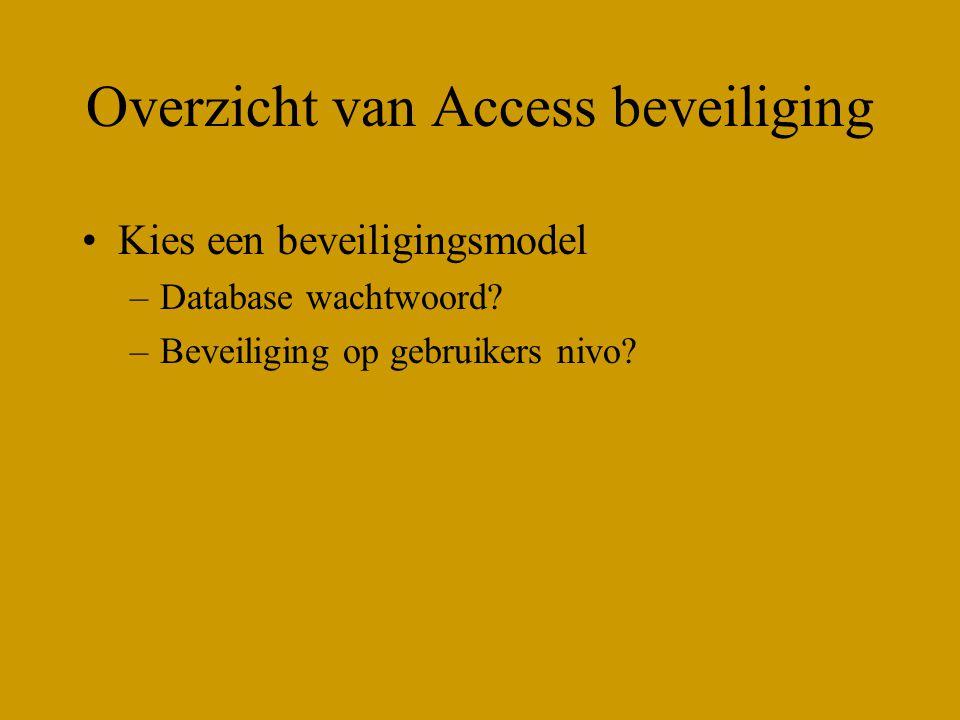 Overzicht van Access beveiliging Sharelevel –Wachtwoord Simpel te implementeren Simpel te kraken User level –Werkgroep beveiliging Moeilijk te implementen Moeilijk te kraken