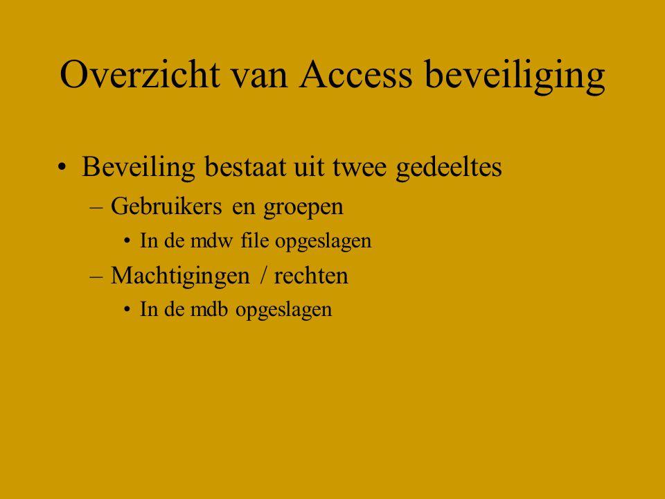 Overzicht van Access beveiliging Beveiling bestaat uit twee gedeeltes –Gebruikers en groepen In de mdw file opgeslagen –Machtigingen / rechten In de mdb opgeslagen