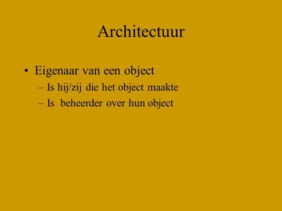Architectuur Eigenaar van een object –Is hij/zij die het object maakte –Is beheerder over hun object