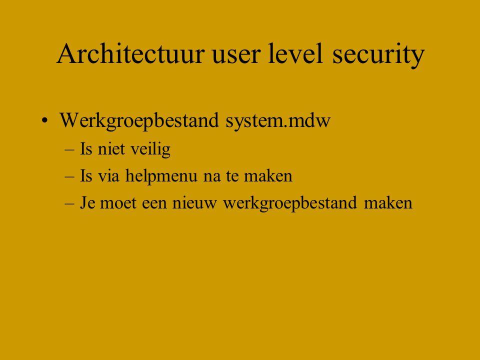 Architectuur user level security Werkgroepbestand system.mdw –Is niet veilig –Is via helpmenu na te maken –Je moet een nieuw werkgroepbestand maken