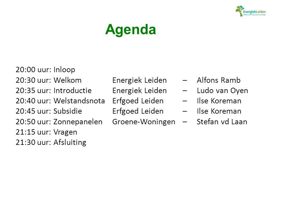 Agenda 20:00 uur: Inloop 20:30 uur: WelkomEnergiek Leiden – Alfons Ramb 20:35 uur: Introductie Energiek Leiden – Ludo van Oyen 20:40 uur: Welstandsnot