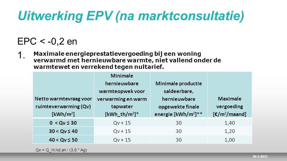 18-1-2013 Uitwerking EPV (na marktconsultatie) EPC < -0,2 en 1. Netto warmtevraag voor ruimteverwarming (Qv) [kWh/m 2 ] Minimale hernieuwbare warmteop