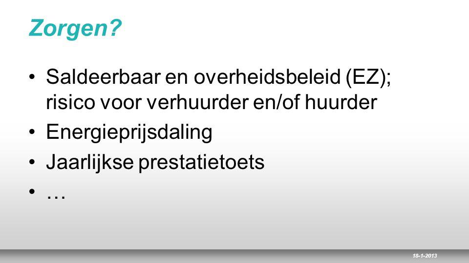 18-1-2013 Zorgen? Saldeerbaar en overheidsbeleid (EZ); risico voor verhuurder en/of huurder Energieprijsdaling Jaarlijkse prestatietoets …