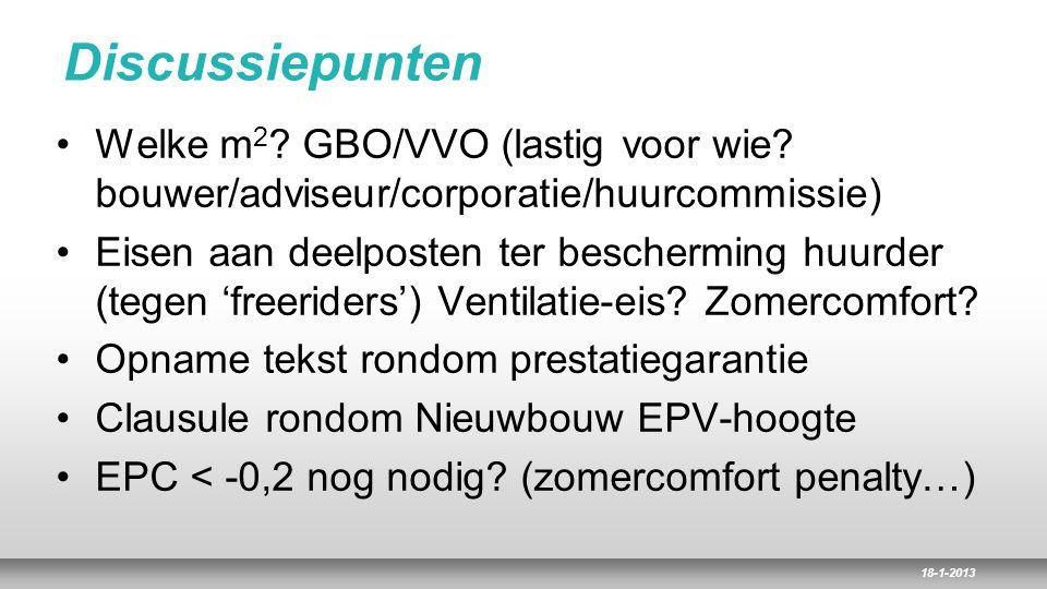 18-1-2013 Discussiepunten Welke m 2 ? GBO/VVO (lastig voor wie? bouwer/adviseur/corporatie/huurcommissie) Eisen aan deelposten ter bescherming huurder