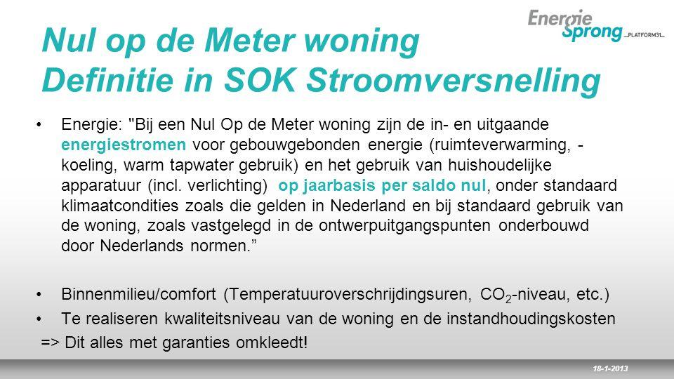 18-1-2013 Nul op de Meter woning Definitie in SOK Stroomversnelling Energie: