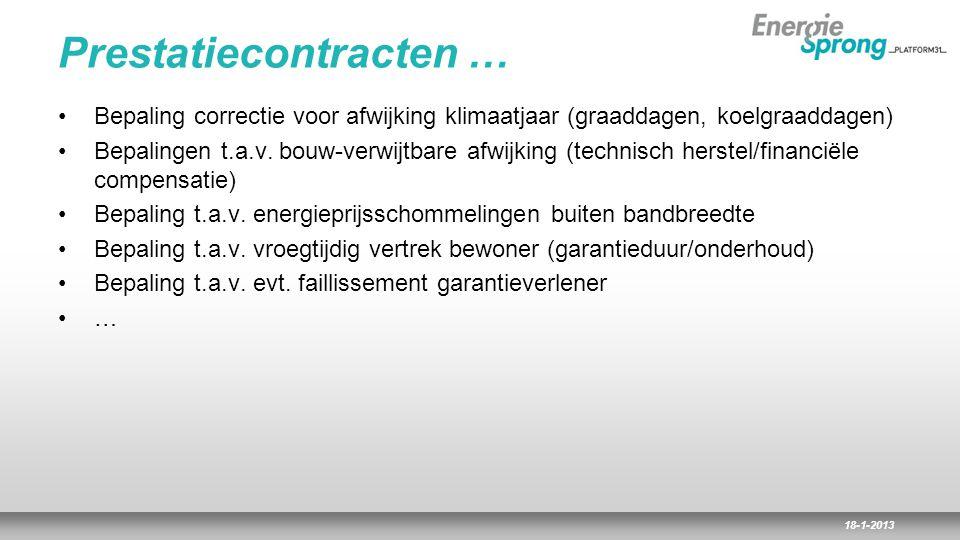 18-1-2013 Prestatiecontracten … Bepaling correctie voor afwijking klimaatjaar (graaddagen, koelgraaddagen) Bepalingen t.a.v. bouw-verwijtbare afwijkin