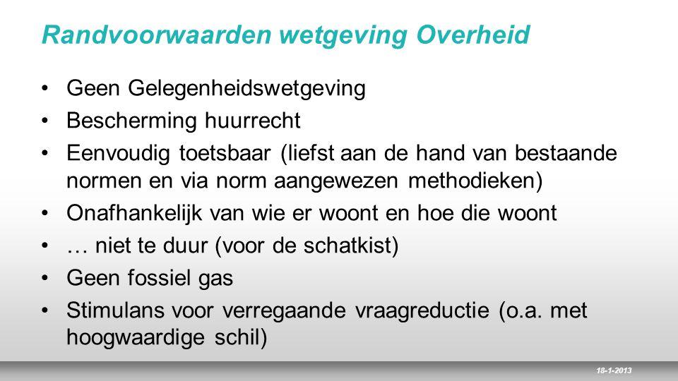 18-1-2013 Randvoorwaarden wetgeving Overheid Geen Gelegenheidswetgeving Bescherming huurrecht Eenvoudig toetsbaar (liefst aan de hand van bestaande no