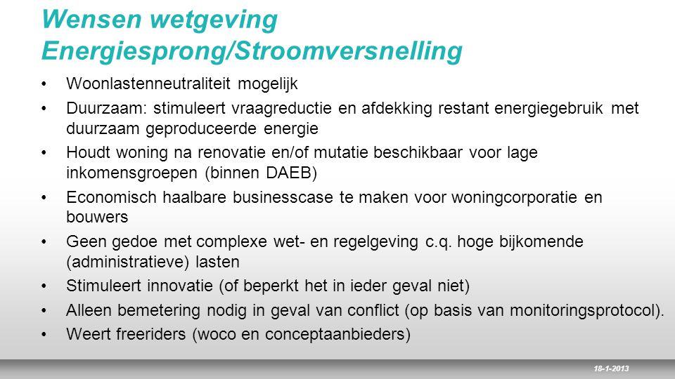 18-1-2013 Wensen wetgeving Energiesprong/Stroomversnelling Woonlastenneutraliteit mogelijk Duurzaam: stimuleert vraagreductie en afdekking restant ene
