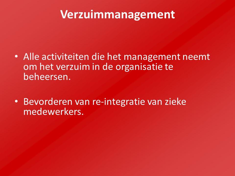 Verzuimmanagement Alle activiteiten die het management neemt om het verzuim in de organisatie te beheersen. Bevorderen van re-integratie van zieke med