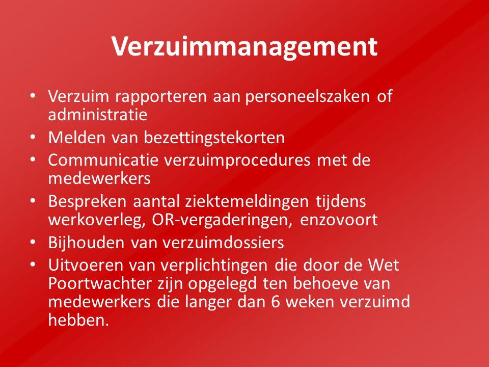 Verzuimmanagement Verzuim rapporteren aan personeelszaken of administratie Melden van bezettingstekorten Communicatie verzuimprocedures met de medewer