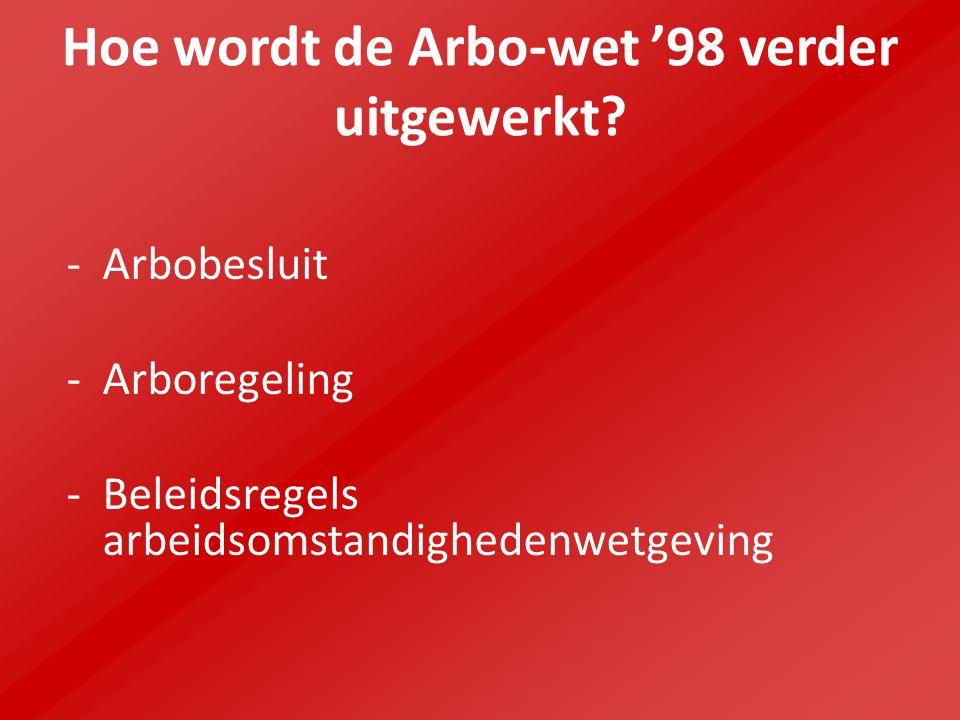 Hoe wordt de Arbo-wet '98 verder uitgewerkt? -Arbobesluit -Arboregeling -Beleidsregels arbeidsomstandighedenwetgeving
