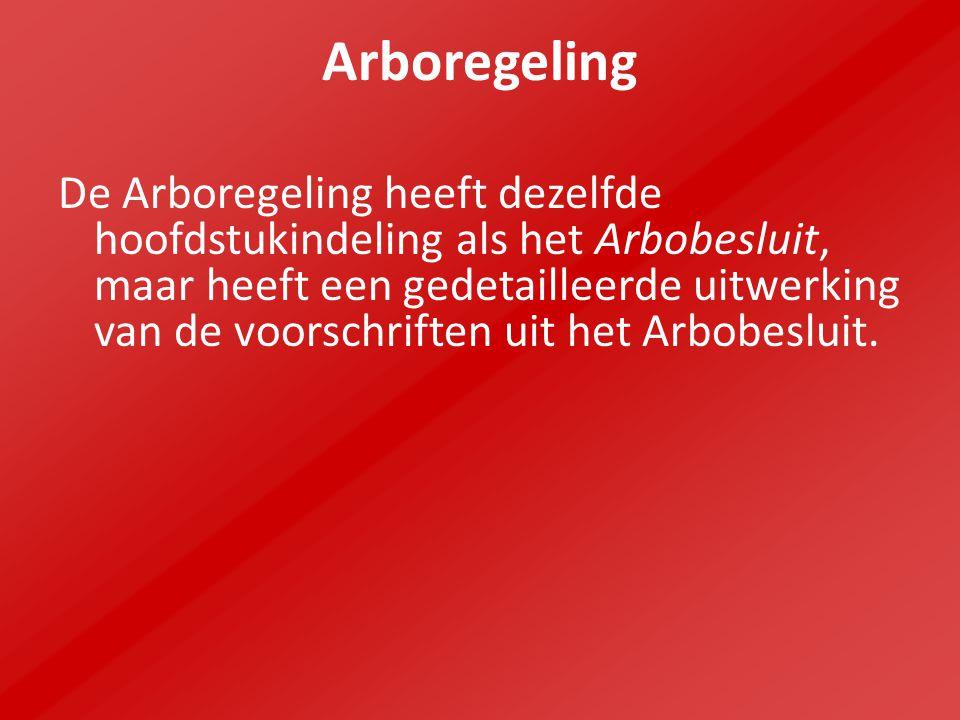 Arboregeling De Arboregeling heeft dezelfde hoofdstukindeling als het Arbobesluit, maar heeft een gedetailleerde uitwerking van de voorschriften uit h