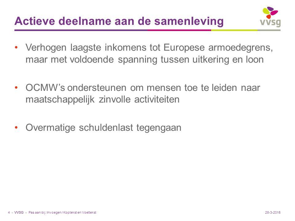 VVSG - Actieve deelname aan de samenleving Verhogen laagste inkomens tot Europese armoedegrens, maar met voldoende spanning tussen uitkering en loon OCMW's ondersteunen om mensen toe te leiden naar maatschappelijk zinvolle activiteiten Overmatige schuldenlast tegengaan Pas aan bij: Invoegen / Koptekst en Voettekst4 -28-3-2015