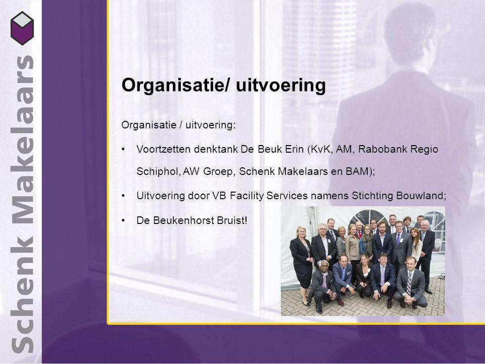 Organisatie/ uitvoering Organisatie / uitvoering: Voortzetten denktank De Beuk Erin (KvK, AM, Rabobank Regio Schiphol, AW Groep, Schenk Makelaars en BAM); Uitvoering door VB Facility Services namens Stichting Bouwland; De Beukenhorst Bruist!