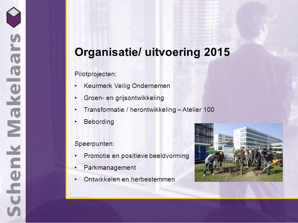 Organisatie/ uitvoering 2015 Pilotprojecten: Keurmerk Veilig Ondernemen Groen- en grijsontwikkeling Transformatie / herontwikkeling – Atelier 100 Bebo