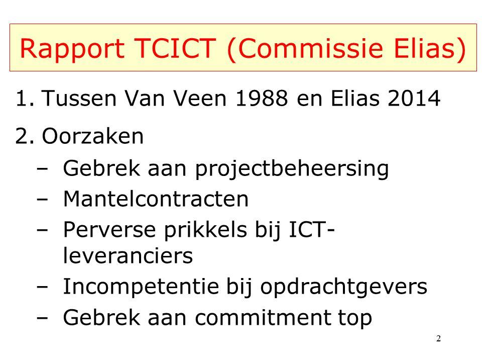 Rapport TCICT (Commissie Elias) 1.Tussen Van Veen 1988 en Elias 2014 2.Oorzaken –Gebrek aan projectbeheersing –Mantelcontracten –Perverse prikkels bij