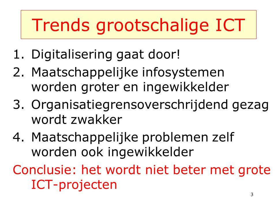 Trends grootschalige ICT 1.Digitalisering gaat door! 2.Maatschappelijke infosystemen worden groter en ingewikkelder 3.Organisatiegrensoverschrijdend g