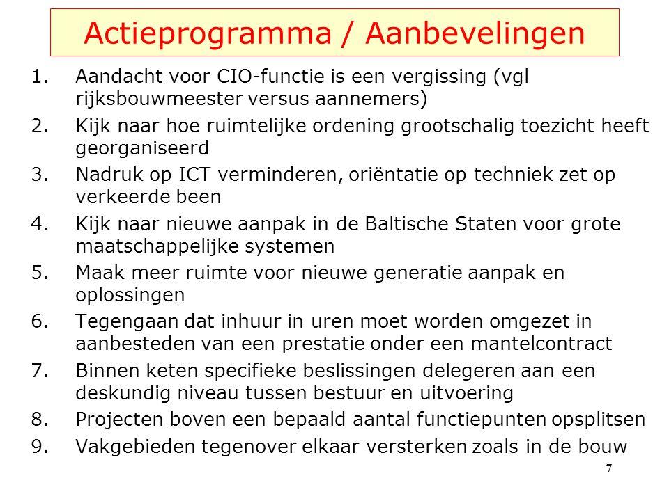 Actieprogramma / Aanbevelingen 1.Aandacht voor CIO-functie is een vergissing (vgl rijksbouwmeester versus aannemers) 2.Kijk naar hoe ruimtelijke orden