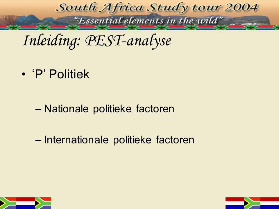 Nationale politieke factoren (1) Politieke stabiliteit Bureaucratie Corruptie Monopolies Zuid-AfrikaNederland Politieke stabiliteit (2002)-0.091.37 Overheid Effectiviteit (2002)0.522.14 Minst corrupte landen (2003)48 ste 7 de Economische vrijheid (2001)42 ste 10 de