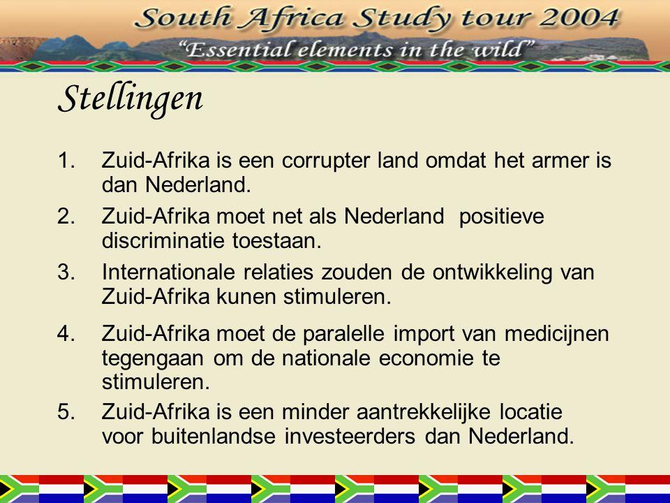 Stellingen 1.Zuid-Afrika is een corrupter land omdat het armer is dan Nederland. 2.Zuid-Afrika moet net als Nederland positieve discriminatie toestaan