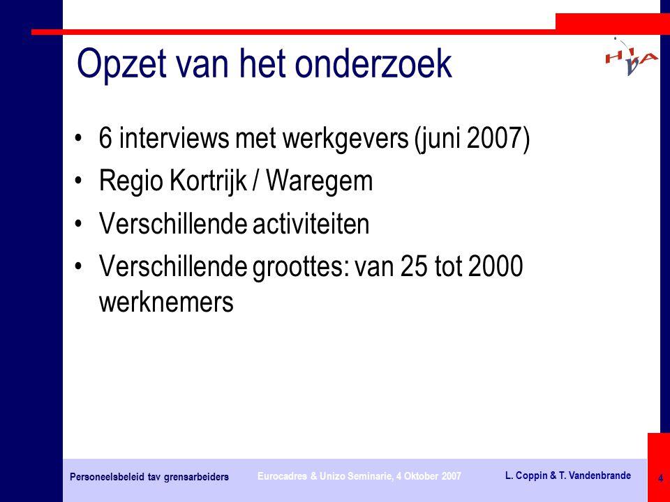 Personeelsbeleid tav grensarbeiders Eurocadres & Unizo Seminarie, 4 Oktober 2007 L.