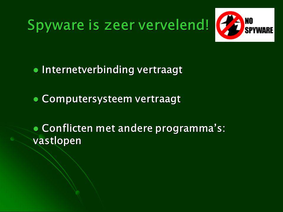 Spyware is zeer vervelend! Internetverbinding vertraagt Internetverbinding vertraagt Computersysteem vertraagt Computersysteem vertraagt Conflicten me