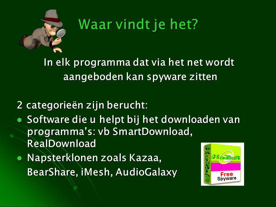 Waar vindt je het? In elk programma dat via het net wordt aangeboden kan spyware zitten aangeboden kan spyware zitten 2 categorieën zijn berucht: Soft