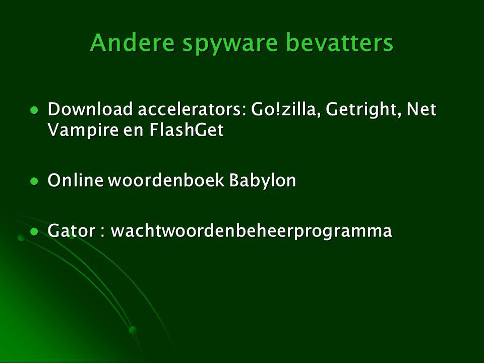 Andere spyware bevatters Download accelerators: Go!zilla, Getright, Net Vampire en FlashGet Download accelerators: Go!zilla, Getright, Net Vampire en