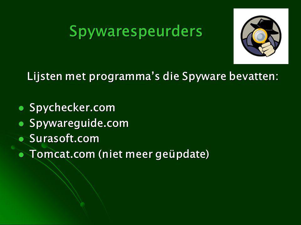 Spywarespeurders Lijsten met programma's die Spyware bevatten: Spychecker.com Spychecker.com Spywareguide.com Spywareguide.com Surasoft.com Surasoft.com Tomcat.com (niet meer geüpdate) Tomcat.com (niet meer geüpdate)