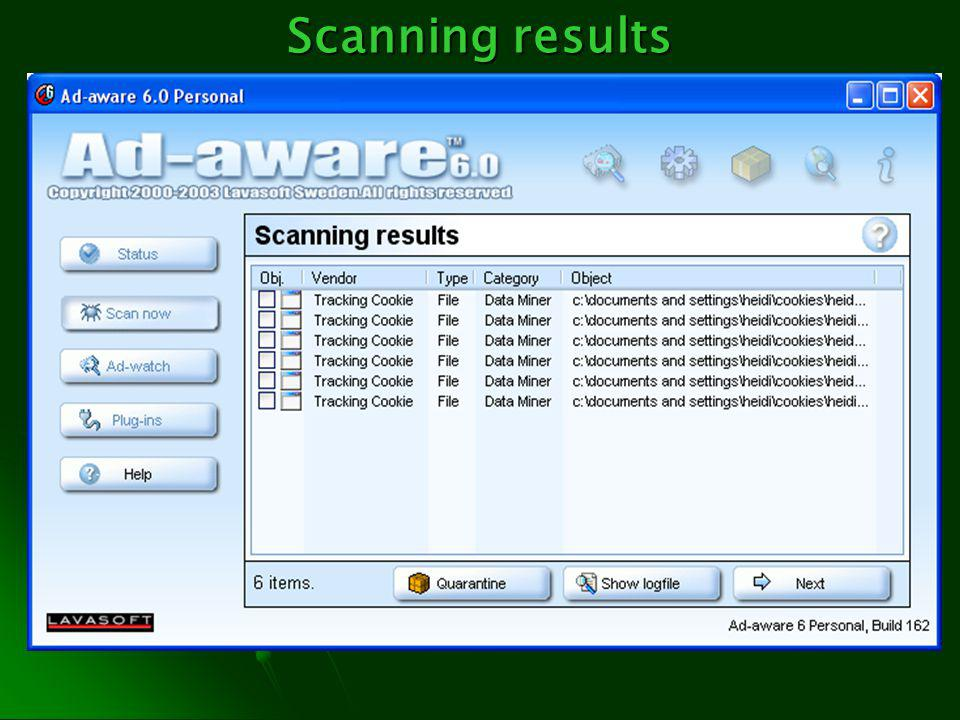 Scanning results