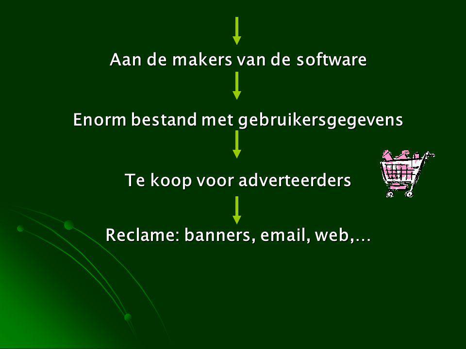 Aan de makers van de software Enorm bestand met gebruikersgegevens Te koop voor adverteerders Reclame: banners, email, web,…