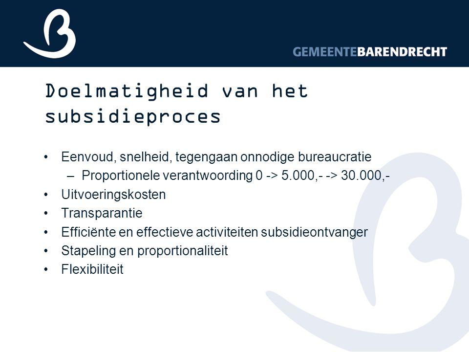 Doelmatigheid van het subsidieproces Eenvoud, snelheid, tegengaan onnodige bureaucratie –Proportionele verantwoording 0 -> 5.000,- -> 30.000,- Uitvoer