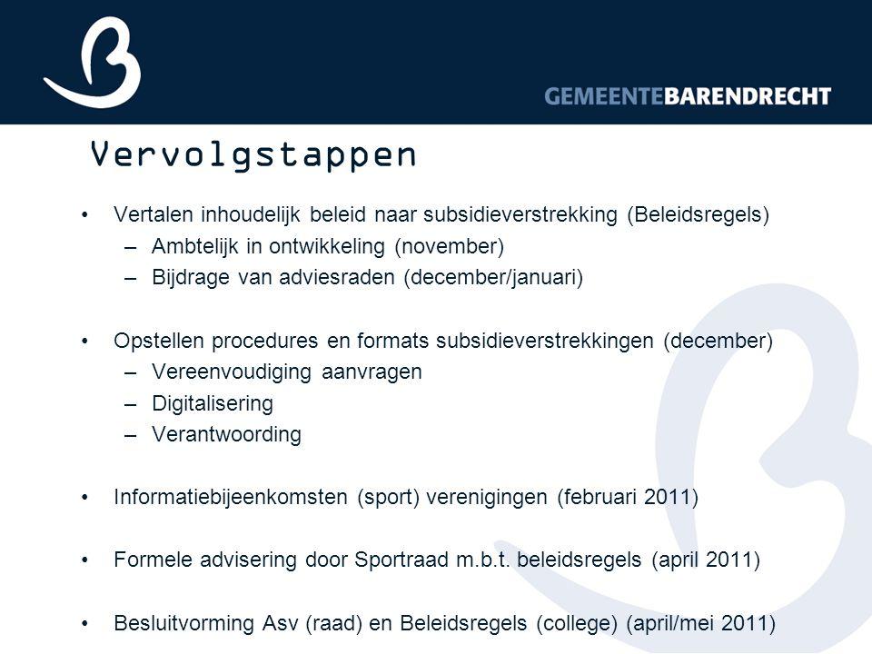 Vervolgstappen Vertalen inhoudelijk beleid naar subsidieverstrekking (Beleidsregels) –Ambtelijk in ontwikkeling (november) –Bijdrage van adviesraden (
