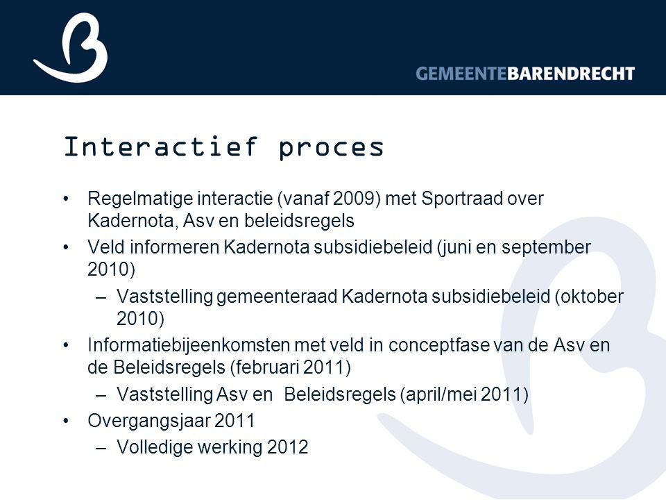 Interactief proces Regelmatige interactie (vanaf 2009) met Sportraad over Kadernota, Asv en beleidsregels Veld informeren Kadernota subsidiebeleid (ju