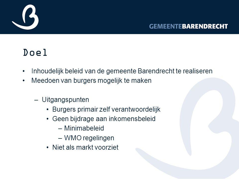 Doel Inhoudelijk beleid van de gemeente Barendrecht te realiseren Meedoen van burgers mogelijk te maken –Uitgangspunten Burgers primair zelf verantwoo