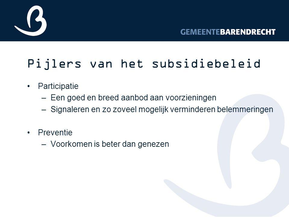 Pijlers van het subsidiebeleid Participatie –Een goed en breed aanbod aan voorzieningen –Signaleren en zo zoveel mogelijk verminderen belemmeringen Pr
