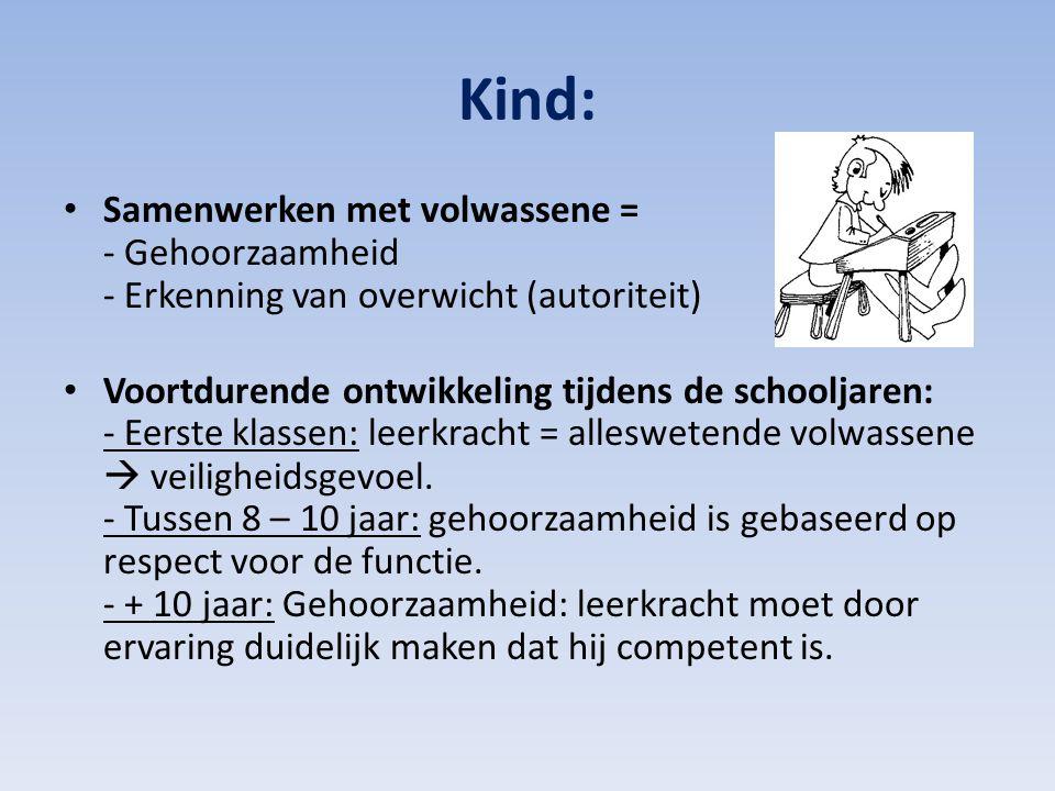 Kind: Samenwerken met volwassene = - Gehoorzaamheid - Erkenning van overwicht (autoriteit) Voortdurende ontwikkeling tijdens de schooljaren: - Eerste