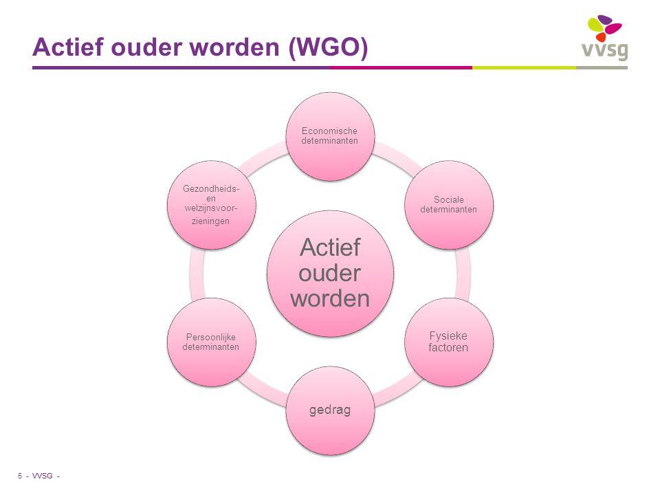 VVSG - Actief ouder worden (WGO) Actief ouder worden Economische determinanten Sociale determinanten Fysieke factoren gedrag Persoonlijke determinanten Gezondheids- en welzijnsvoor- zieningen 5 -