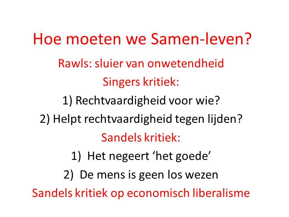 Hoe moeten we Samen-leven? Rawls: sluier van onwetendheid Singers kritiek: 1) Rechtvaardigheid voor wie? 2) Helpt rechtvaardigheid tegen lijden? Sande