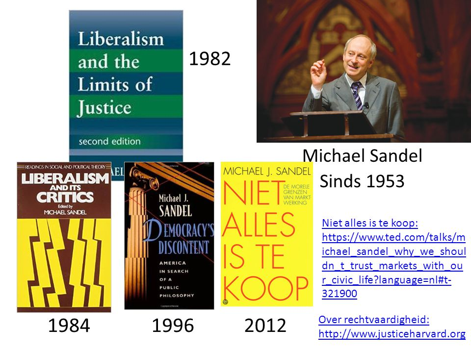 Michael Sandel Sinds 1953 1982 198419962012 Niet alles is te koop: https://www.ted.com/talks/m ichael_sandel_why_we_shoul dn_t_trust_markets_with_ou r