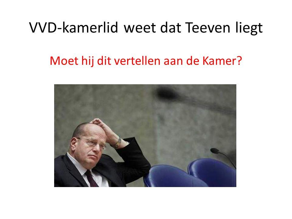 VVD-kamerlid weet dat Teeven liegt Moet hij dit vertellen aan de Kamer?