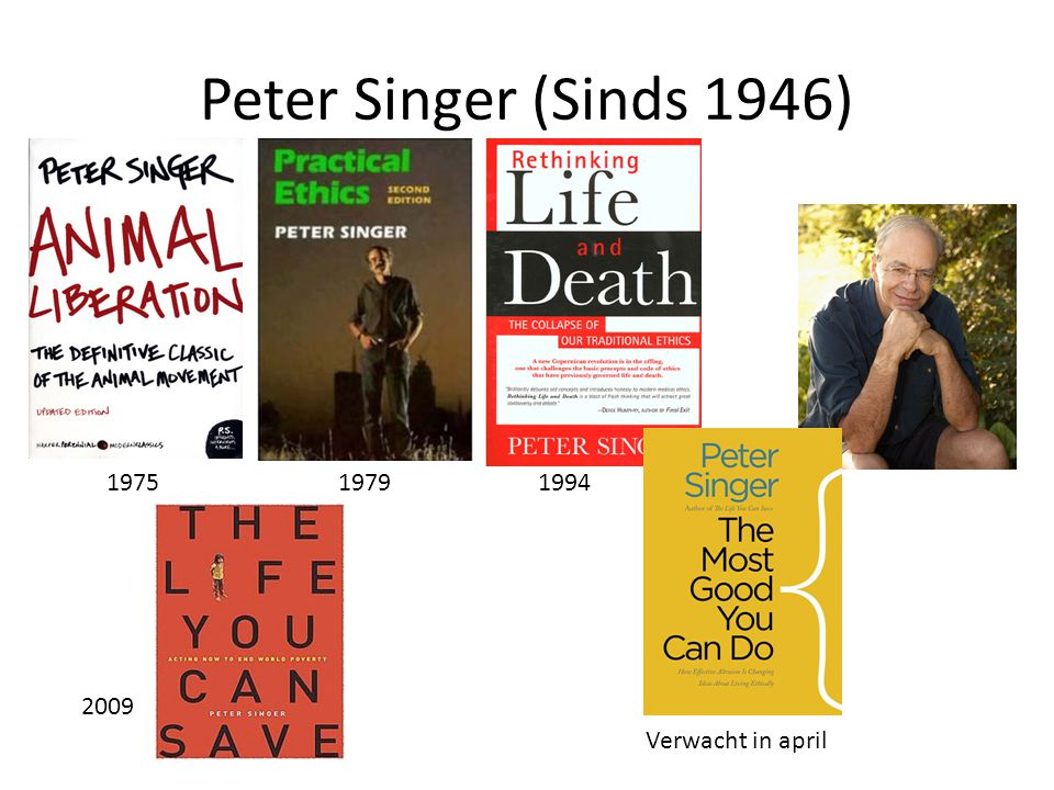 Peter Singer (Sinds 1946) 197519941979 2009 Verwacht in april