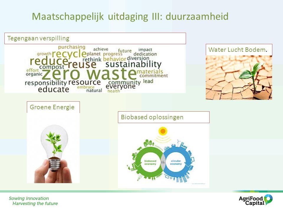Water Lucht Bodem. Tegengaan verspilling Groene Energie Biobased oplossingen Maatschappelijk uitdaging III: duurzaamheid