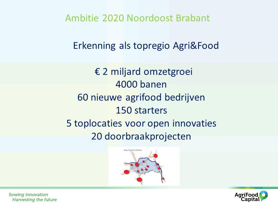 Erkenning als topregio Agri&Food € 2 miljard omzetgroei 4000 banen 60 nieuwe agrifood bedrijven 150 starters 5 toplocaties voor open innovaties 20 doo