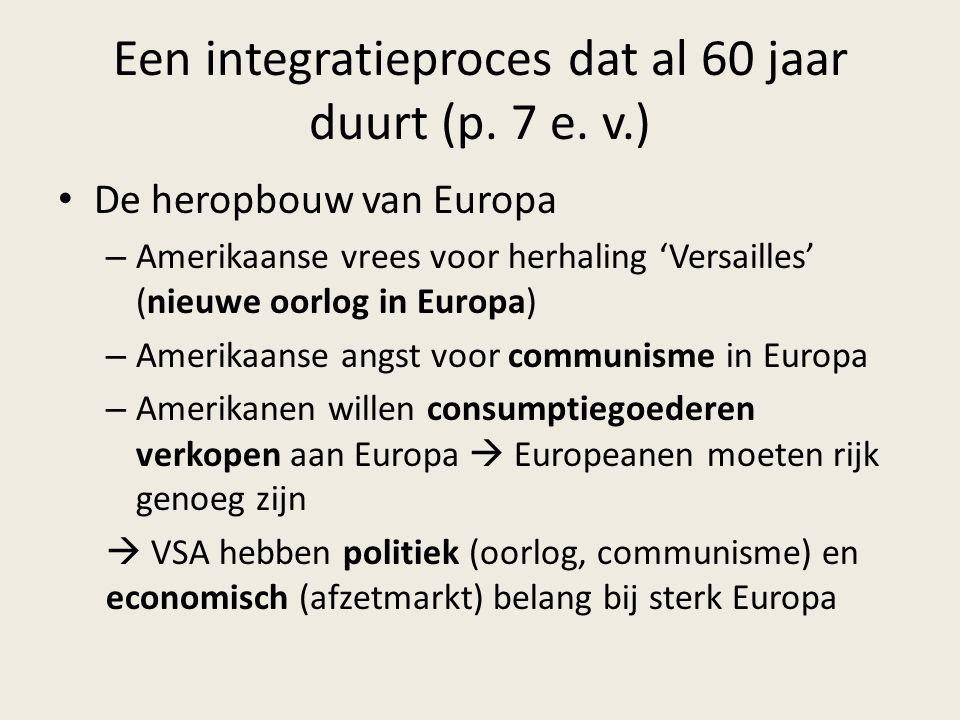 Een integratieproces dat al 60 jaar duurt (p. 7 e. v.) De heropbouw van Europa – Amerikaanse vrees voor herhaling 'Versailles' (nieuwe oorlog in Europ