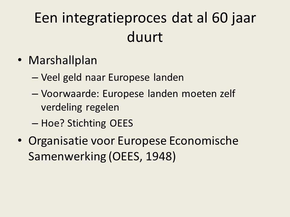 Een integratieproces dat al 60 jaar duurt Marshallplan – Veel geld naar Europese landen – Voorwaarde: Europese landen moeten zelf verdeling regelen –