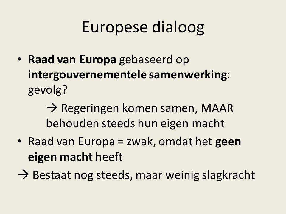 Europese dialoog Raad van Europa gebaseerd op intergouvernementele samenwerking: gevolg?  Regeringen komen samen, MAAR behouden steeds hun eigen mach